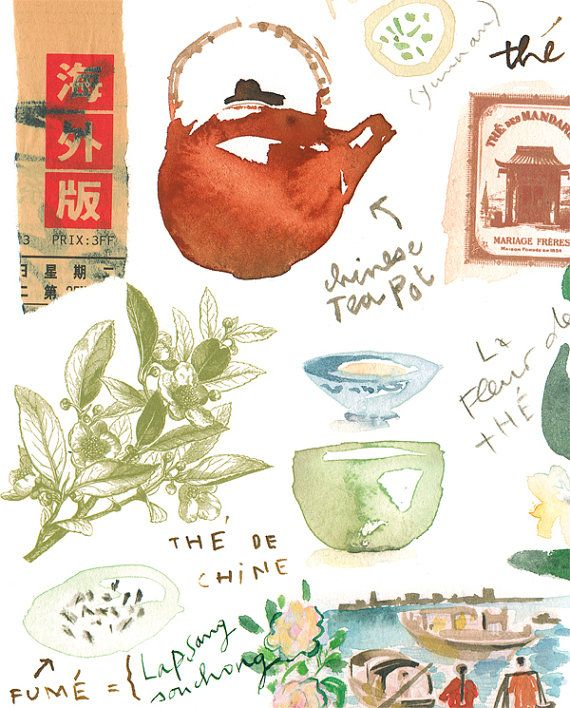 Tea Story Chinese Poster Kitchen Art Print Watercolor Illustration Wall Home Decor Teapot Artwork