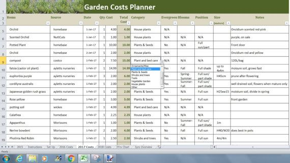 Garden Costs Planner Excel Template Garden Budget Tracker Spreadsheet Plant Log Agenda Journal Budget Tracker Excel Templates Planner