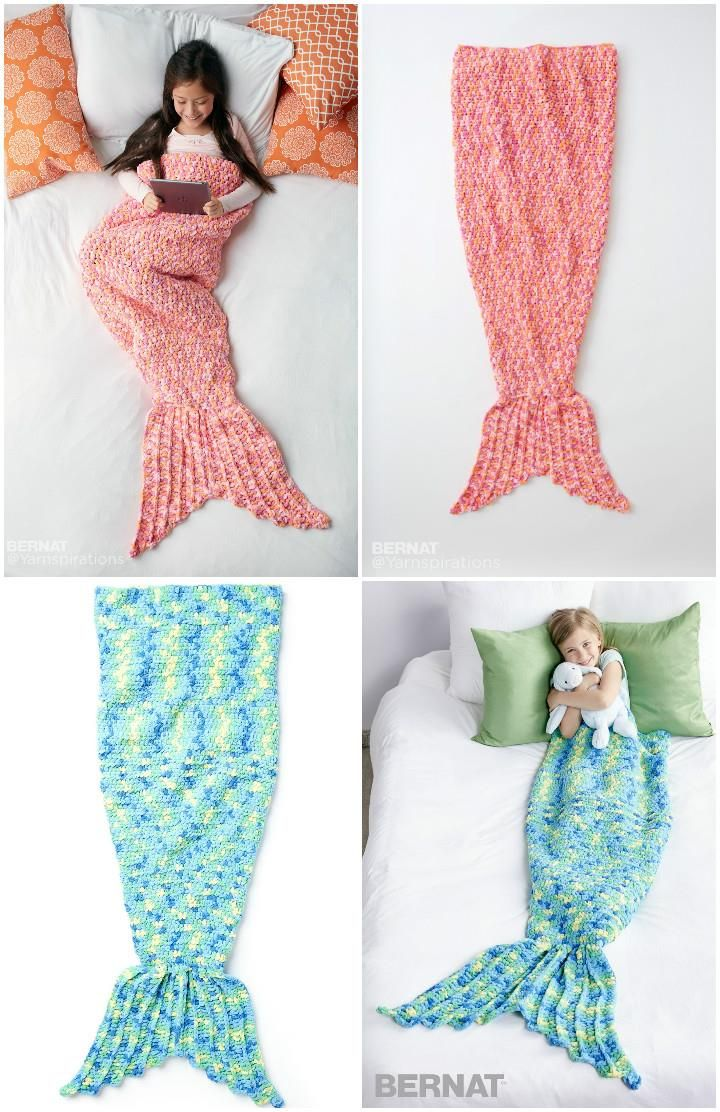 22 Free Crochet Mermaid Tail Blanket Patterns | Gaby, Dos agujas y Camas