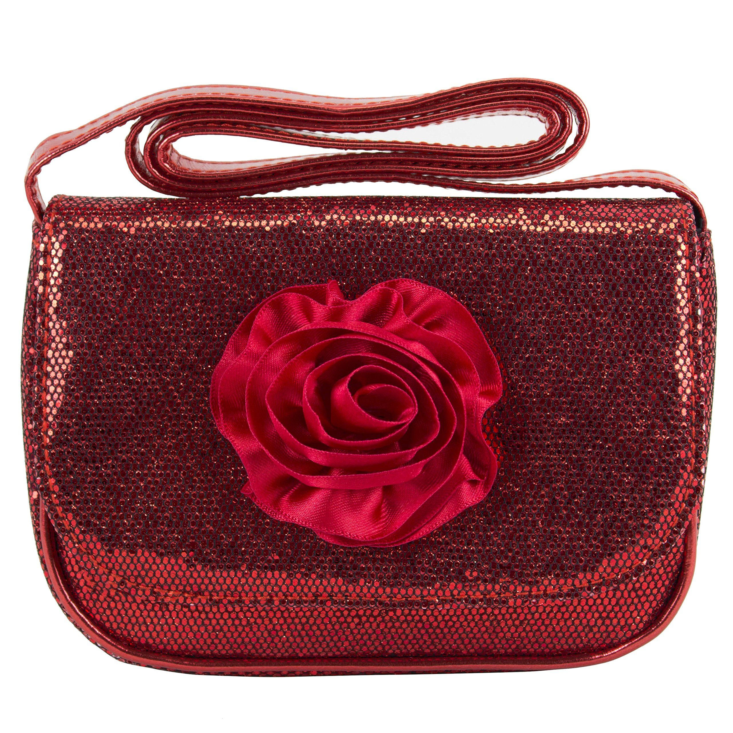 "Mini Sequin Sparkle Girls Red Rose Crossbody Bag Purse. One main compartment. Durable material and construction. Easy to clean and maintain. Easy-close secure snap closure. Strap drop measures 16.5""."
