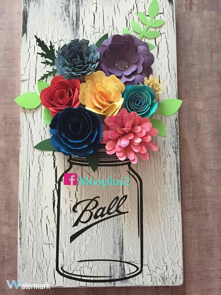 Mason Jar Image With Paper Flowers Rolled Paper Flowers