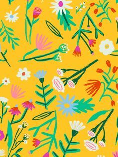 Fall / Winter Postcard - floral with mustard
