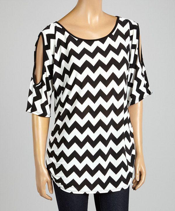 This ARIA FASHION USA Black & White Zigzag Cutout Tunic by ARIA FASHION USA is perfect! #zulilyfinds