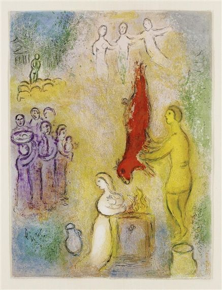 Marc Chagall, Daphnis and Chloe: Sacrifices made to the nymphs