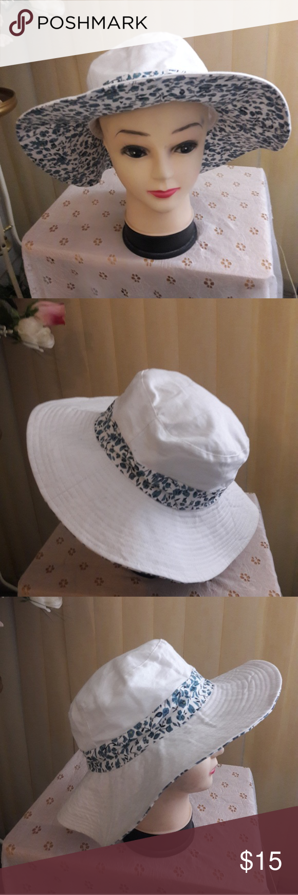 26b3d74b1d8 ... hat nice for the beach in the summer heat white with blue flowers  around the circumference and underneath the brim. Nice and clean. croft    barrow ...