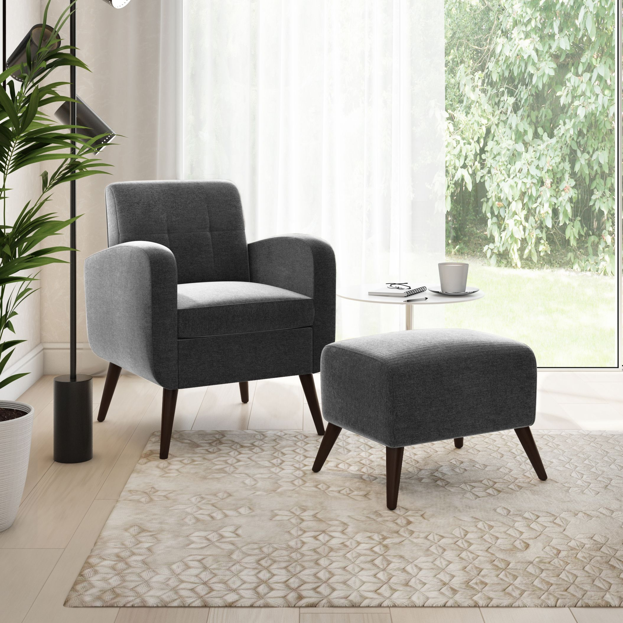 Homesvale suzie velvet arm chair and ottoman