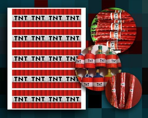 MinecraftTNTPrintable birthday ideas Pinterest Minecraft