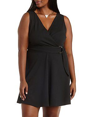 9da055c8c50 Plus Size Belted Sleeveless Wrap Dress