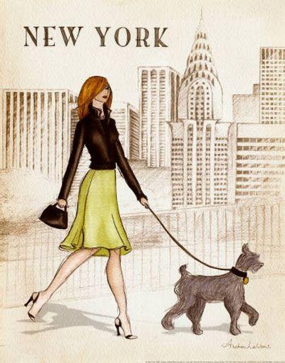 Chica en Nueva York Chicas y ciudades para imprimir   illustrations ...