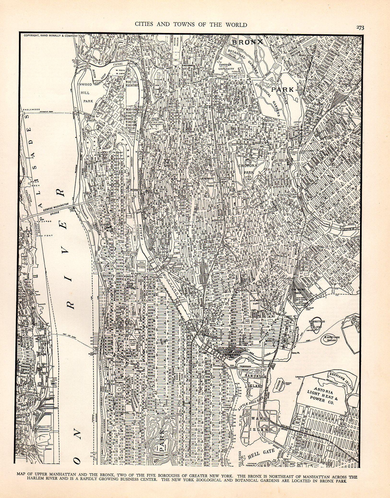 1936 Antique Manhattan Map Vintage Bronx Map Map Of New York City Map Map Of New York Manhattan Map