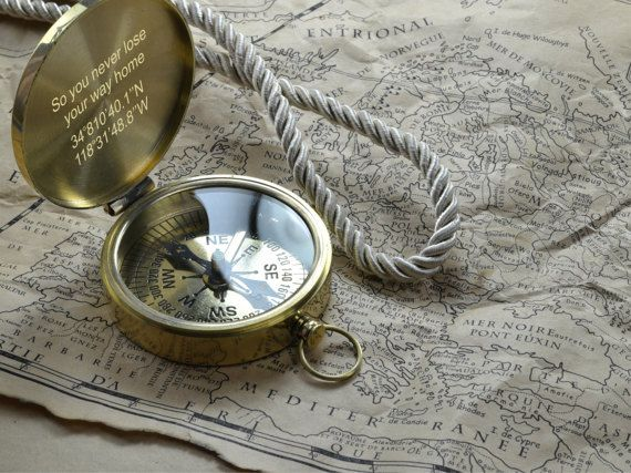 Valentines day gift Gift for Boyfriend Personalized Necklace Personalized Compass Tiny Brass Compass Gift for fiance Compass Necklace