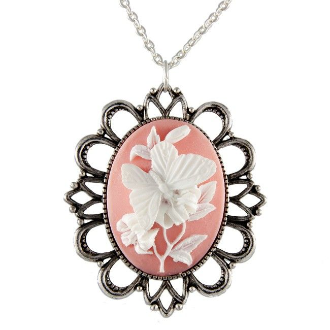 Butterfly Cameo, collana fatta a mano, by Miss Atomic - Las Vegas