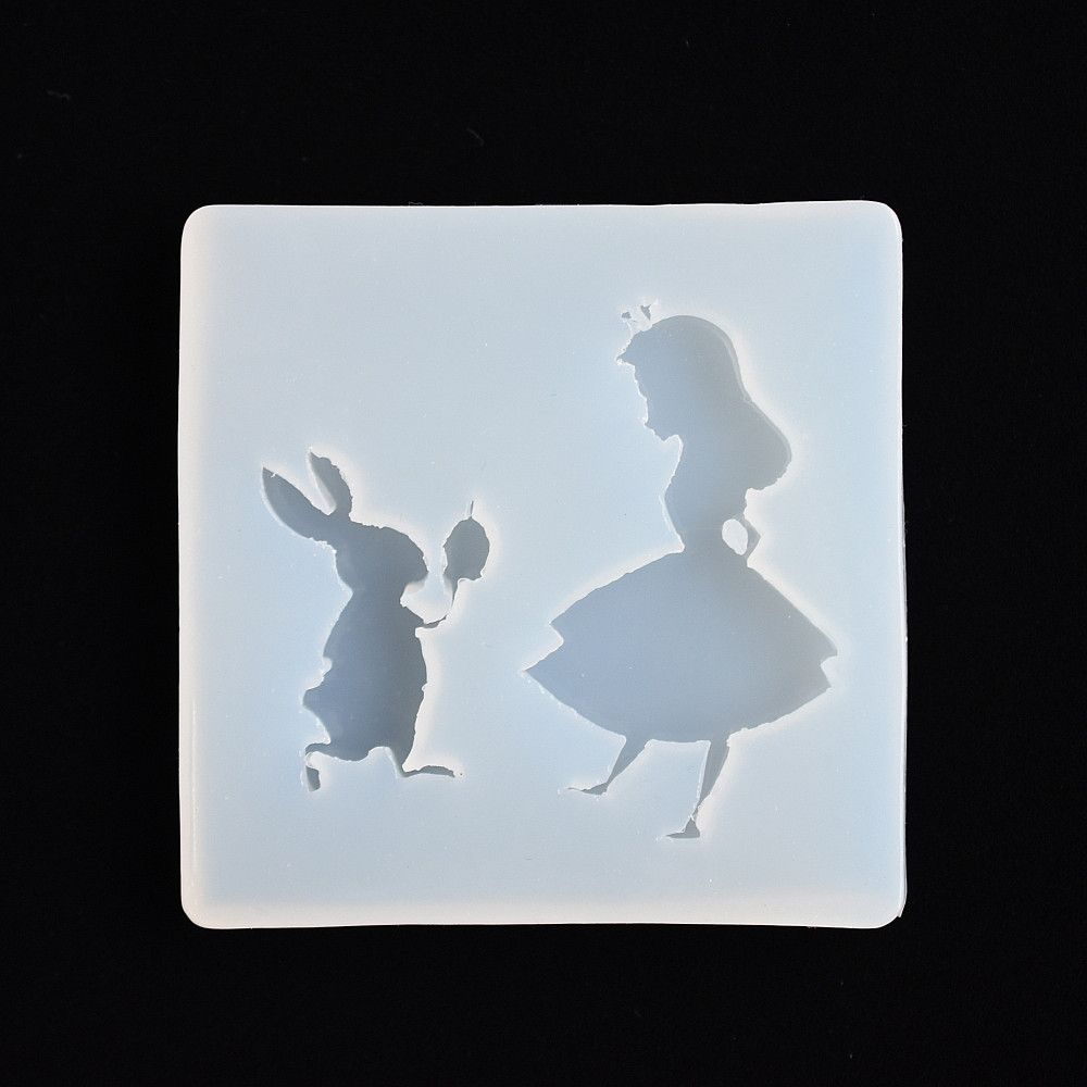 SNASAN Silicone Mold girl and rabbit charms pendant Resin