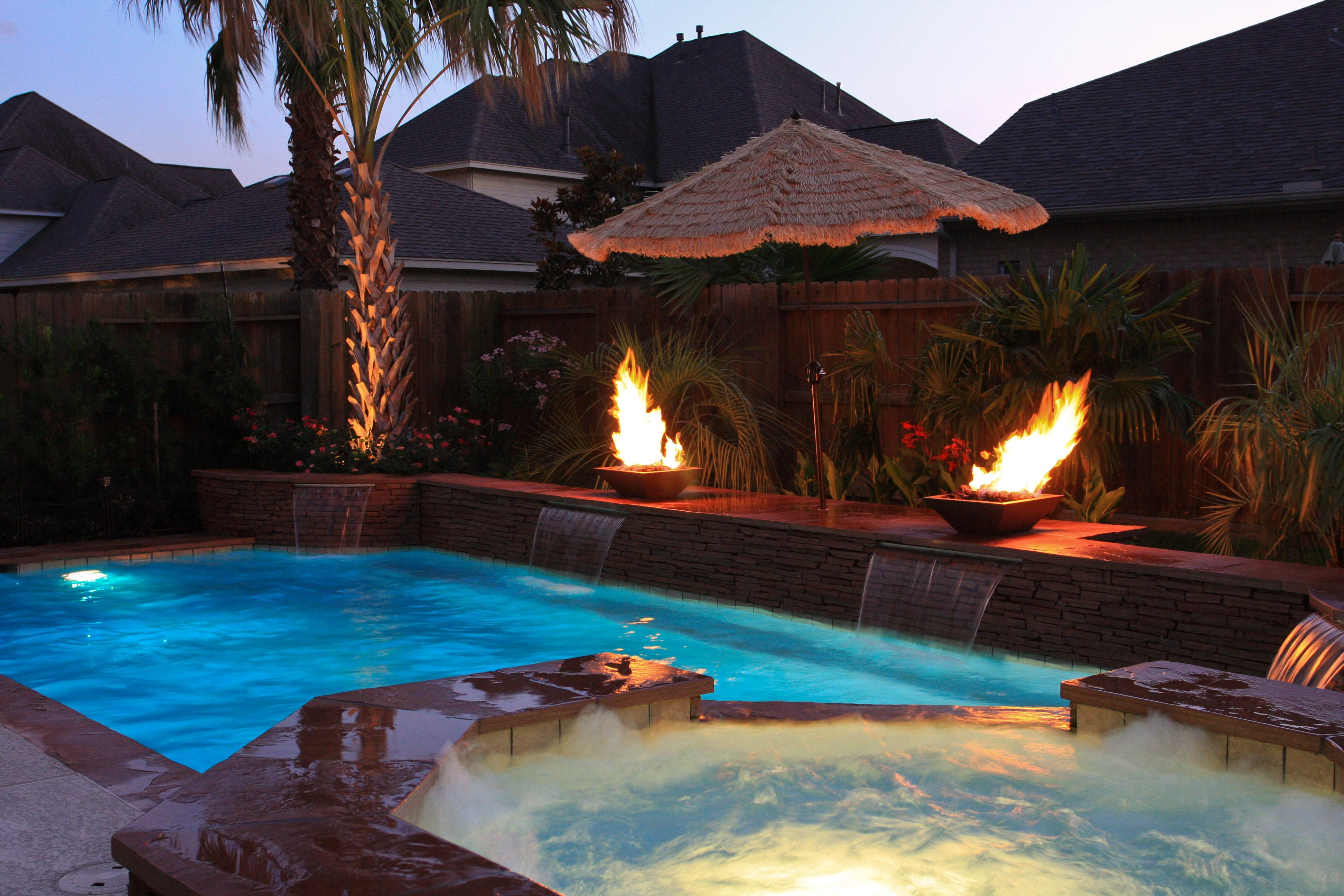 Fire Bowls with Sheer Descents | Swimming Pool Fire Features ...
