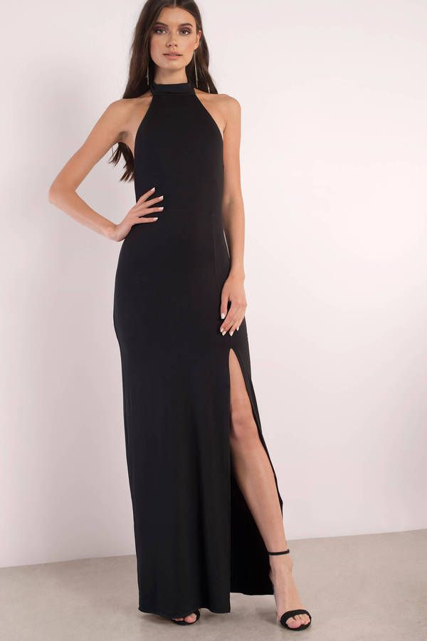 231a79497b96 Hot drama mama in the Sayge Halter Maxi Dress. What dreams are made of with  this figure hugging maxi dress with a slit that features a high halter nec  ...