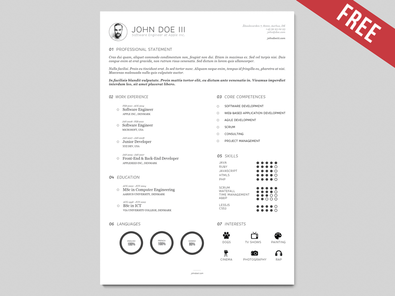 Cv Template Adobe Illustrator Cv Template Pinterest Resume