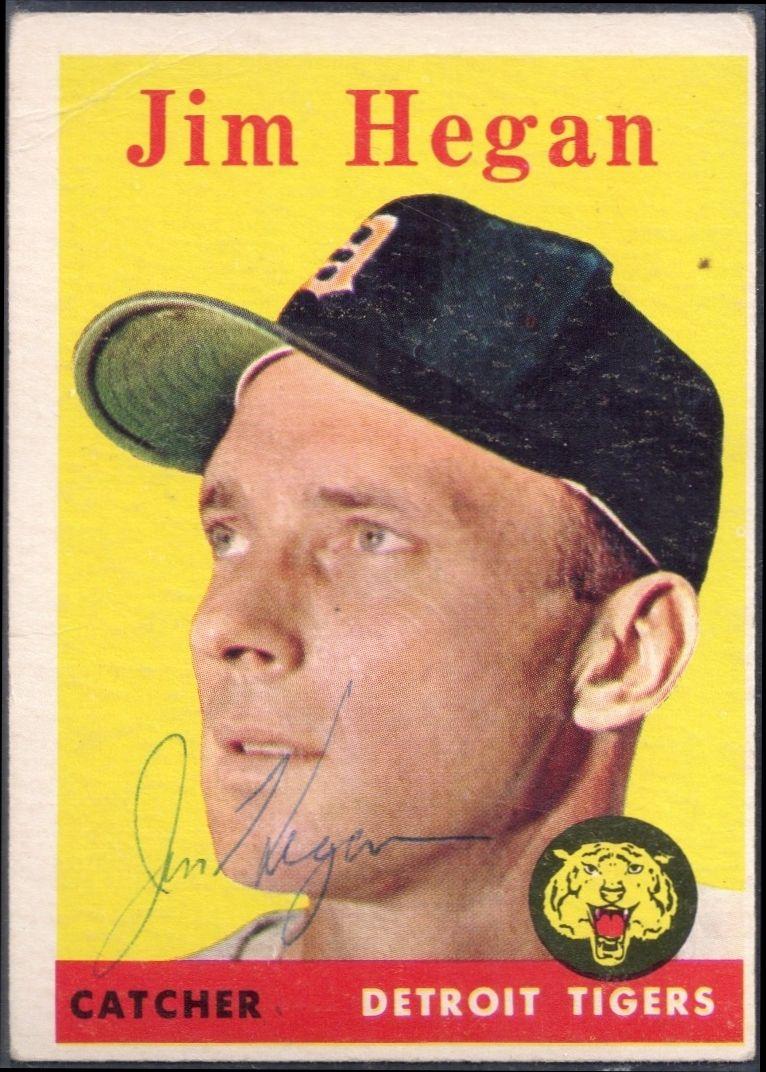1958 topps jim hegan autograph baseball cards
