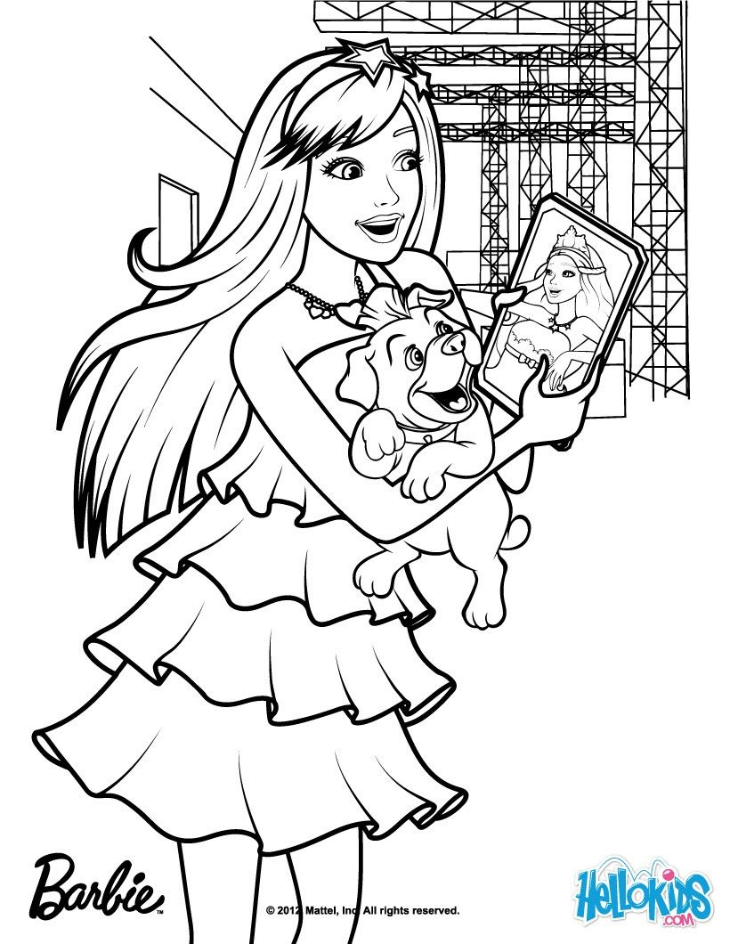 Keira chats on her tablet coloring page more barbie the princess the popstar coloring pages on hellokids com