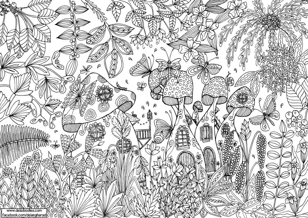 Large Mushroom Forest Colouring Page Del S Doodles On Patreon Colouring Pages Cute Coloring Pages Coloring Pictures