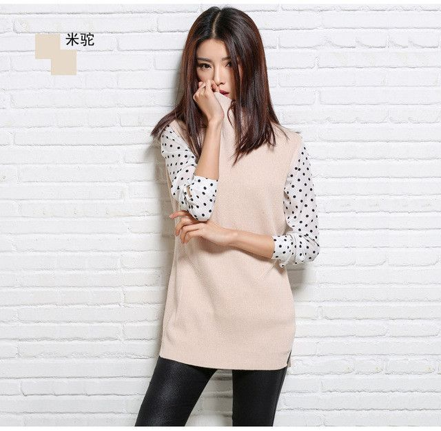 Women's Spring&Autumn Mid-Turtleneck Solid Color Blend Knitted Vest Sleeveless Split Style Knitwear Vests