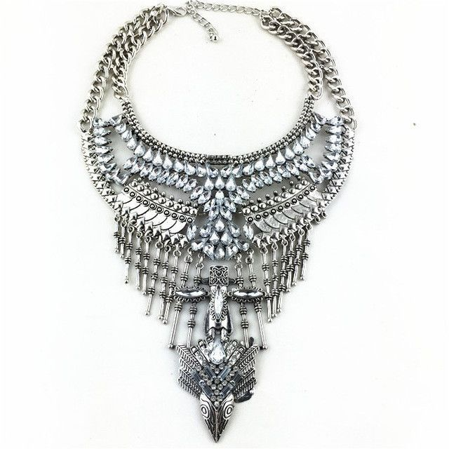 Necklaces & Pendants Vintage Crystal Maxi Choker Silver Collier Femme Boho Big Fashion Jewellery