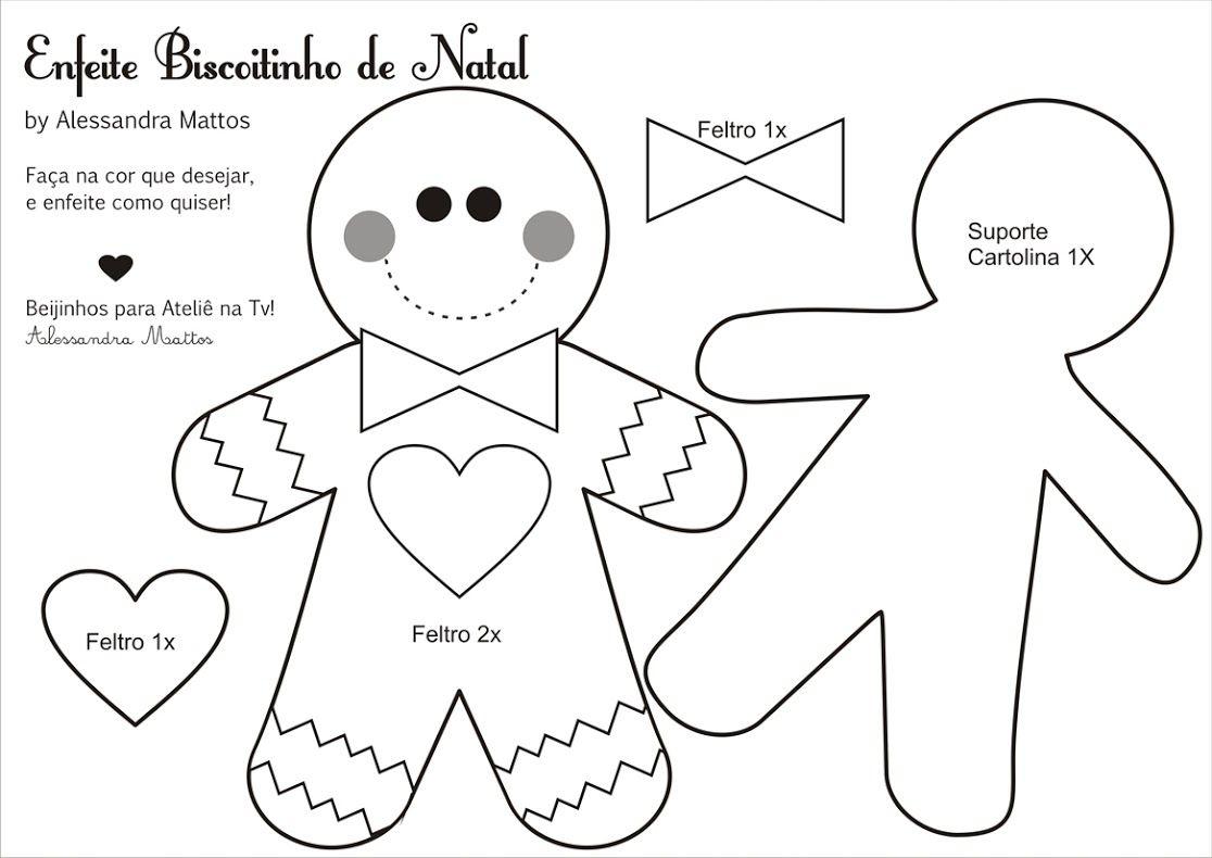 Biscoitinho de Natal_molde | Navidad | Pinterest | Natal, Fieltro y ...