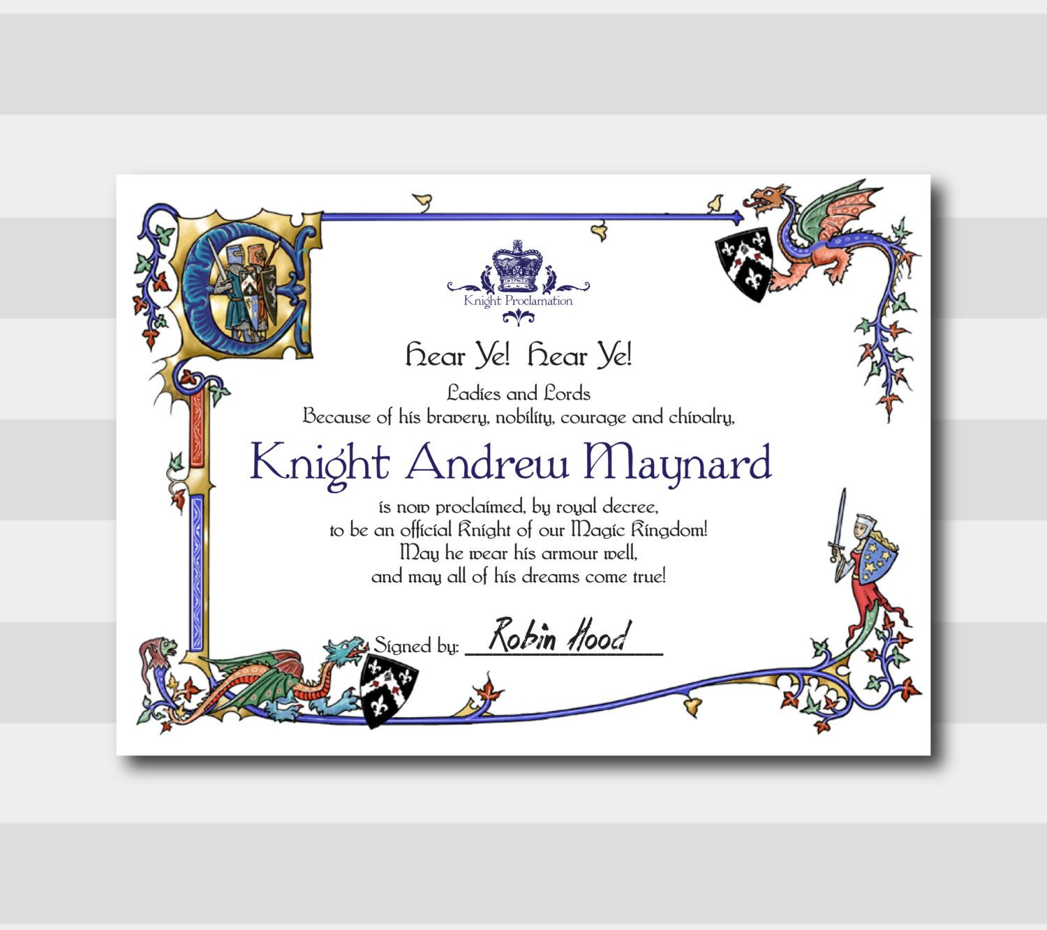 Custom knight proclamation printable 5x7 8x10 knight invitation custom printable knight proclamation 5x7 8x10 knight invitation party invitation knight certificate prince certificate prince by 105designhouse on yelopaper Images