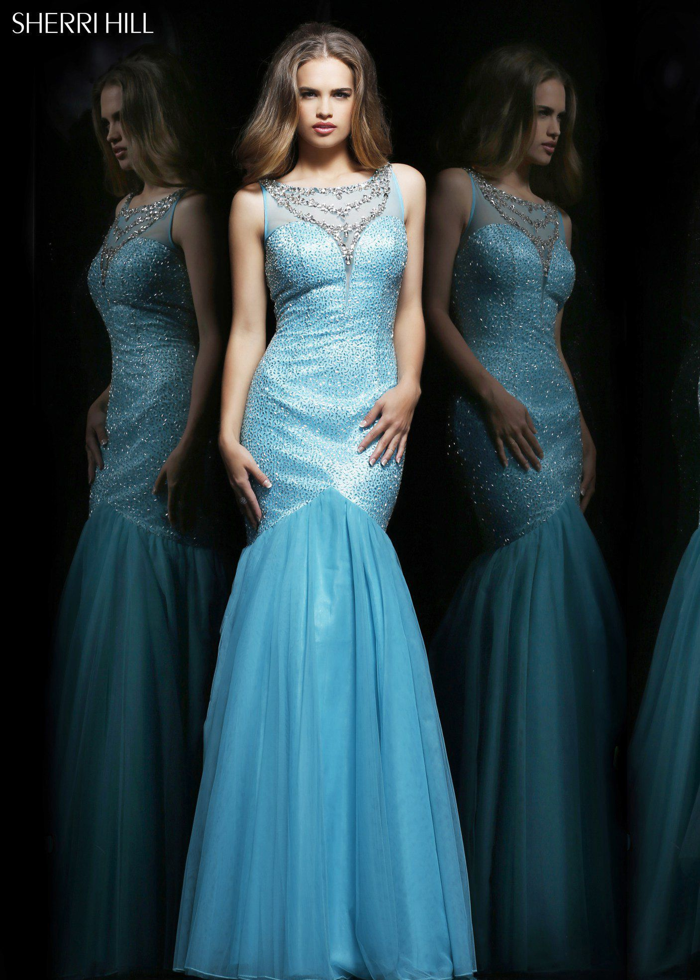Sherri Hill 11090 - Aqua/Silver Beaded Mermaid Prom Dresses Online ...