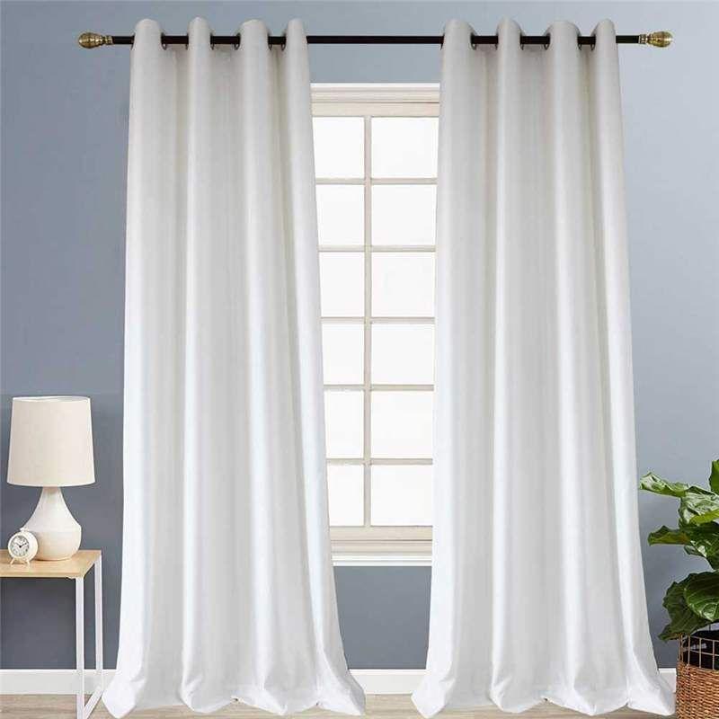 White Check Jacquard Curtain Nordic Simple Semi Blackout Curtain