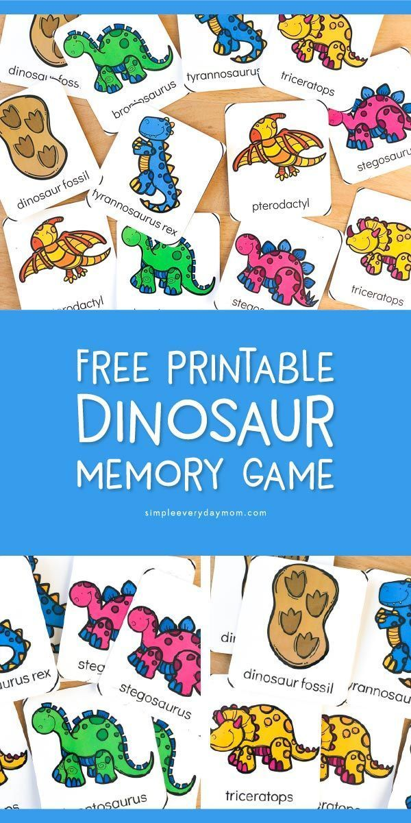 A Simple & FREE Dinosaur Theme Preschool Memory Game | Kid Blogger ...