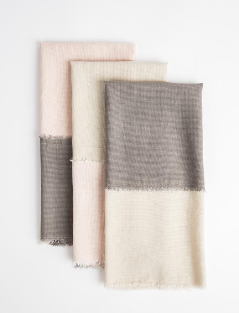 Color Block Tea Towel Set Grey Blush