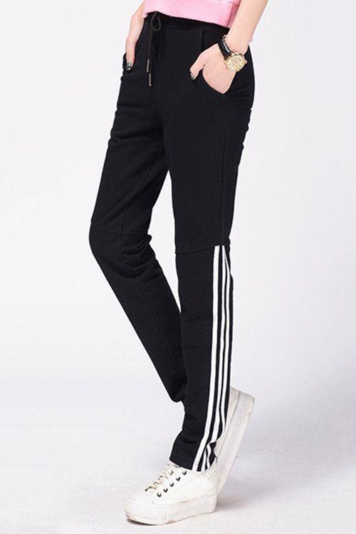 Black Elastic Waist Side Pockets Sport Trousers  - US$17.95 -YOINS