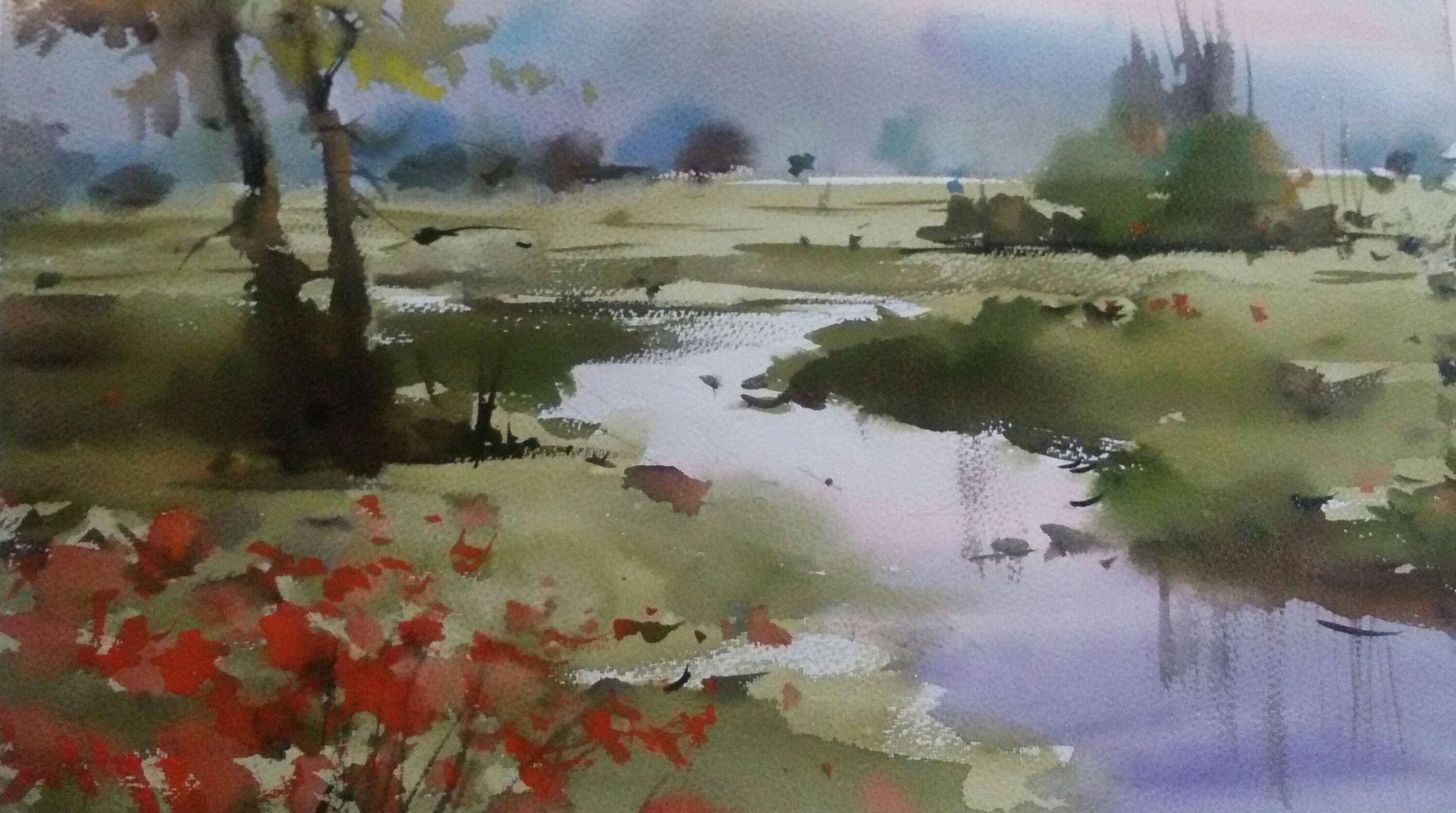 Ilkbahari Ozledik Suluboya Ilkbahar Watercolor Gelincik Spring Poppys Landscape Suluboya Resimler Suluboya Resimler