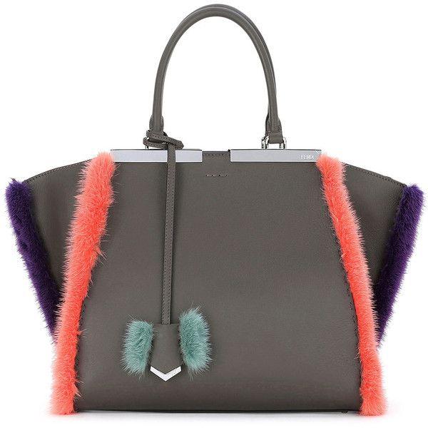 2f33d98e1b58 Fendi 3 Jours Fur-Trim Leather Satchel Bag ( 4