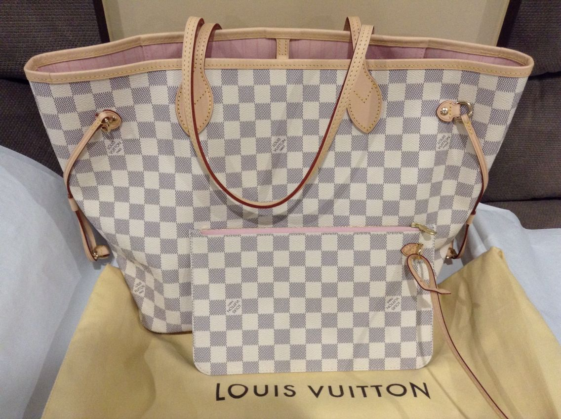 4f28da863b0f Louis Vuitton Neverfull MM in Damier azur with Rose ballerine interior.  This bag is the perfect size and comes with the cutest pouch in the same  pattern.