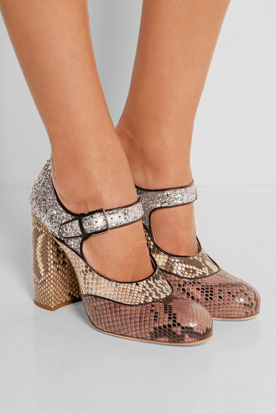 a7839066082 Miu Miu | Glitter-finished python Mary Jane pumps | NET-A-PORTER.COM ...