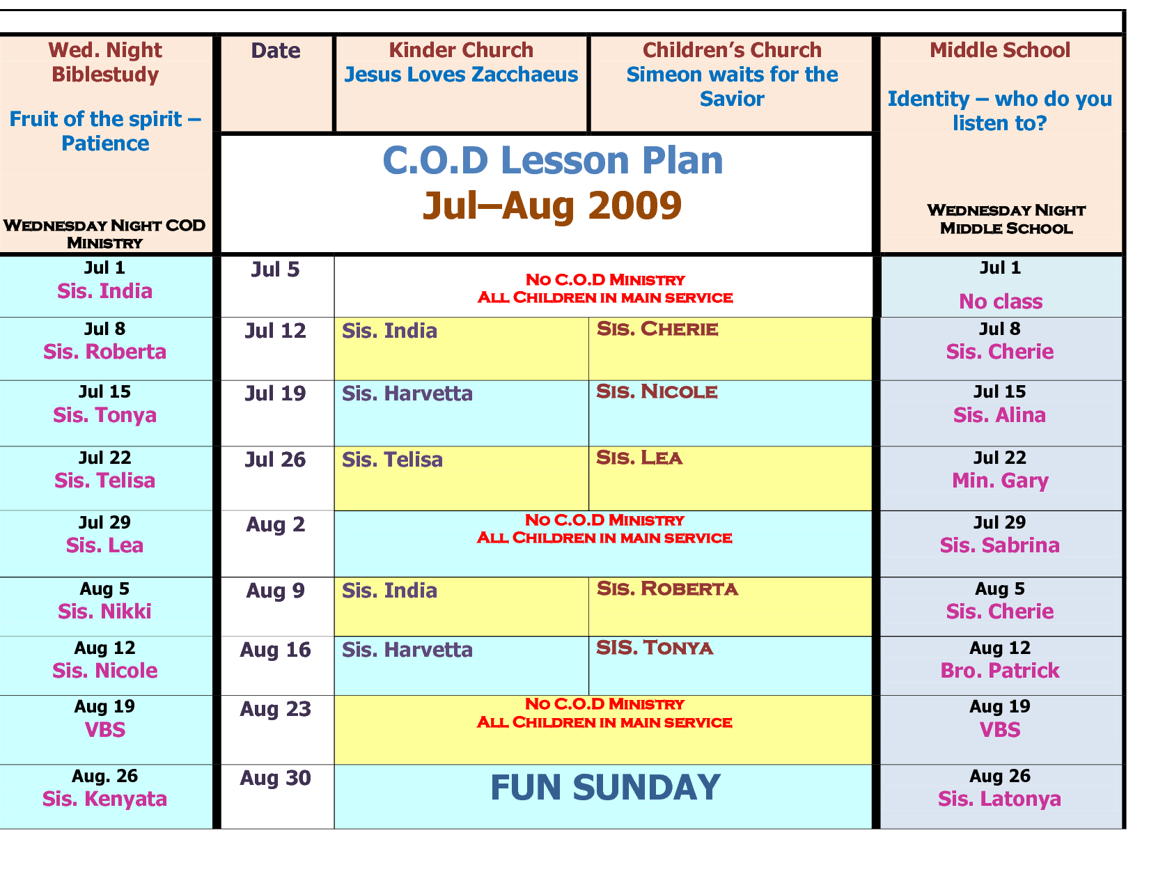 Children S Church Schedule Template
