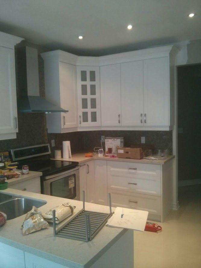 Mdf ash white shaker cabinets with Taj Royal quartz counter top ...