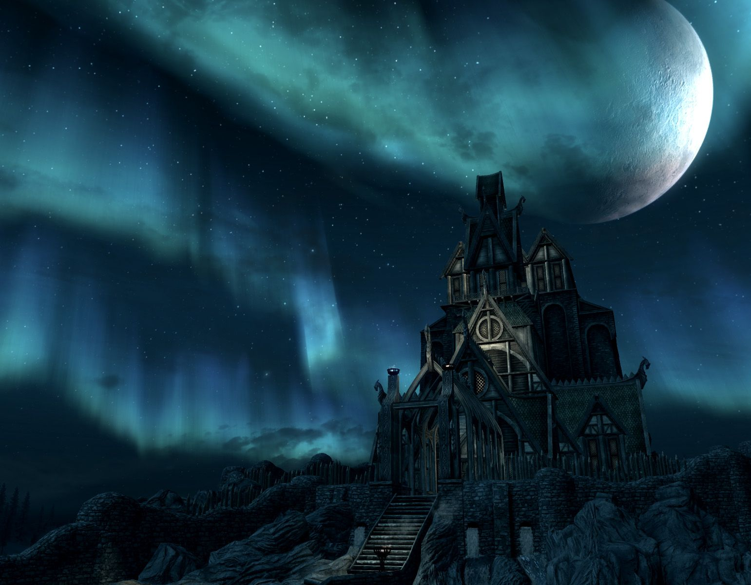 Video game skyrim the elder scrolls video game moon building structure wallpaper sim phong - Video game live wallpapers ...