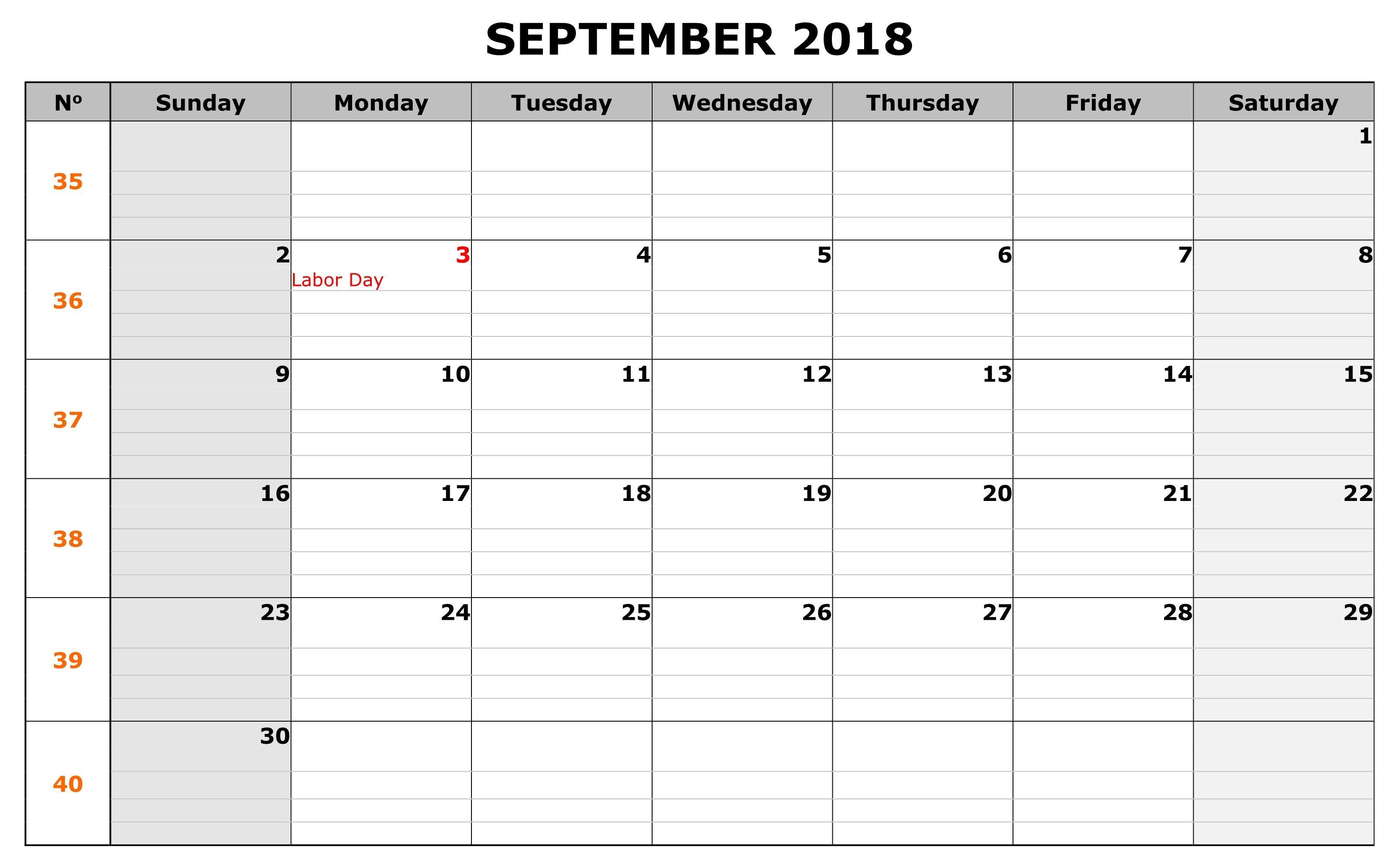 September Waterproof Calendar