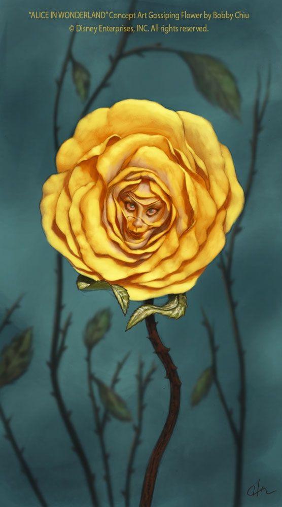 "ALICE IN WONDERLAND TALKING FLOWERS BURTON INSPIRED /""GOLDEN ROSE/"" BY SUTHERLAND"