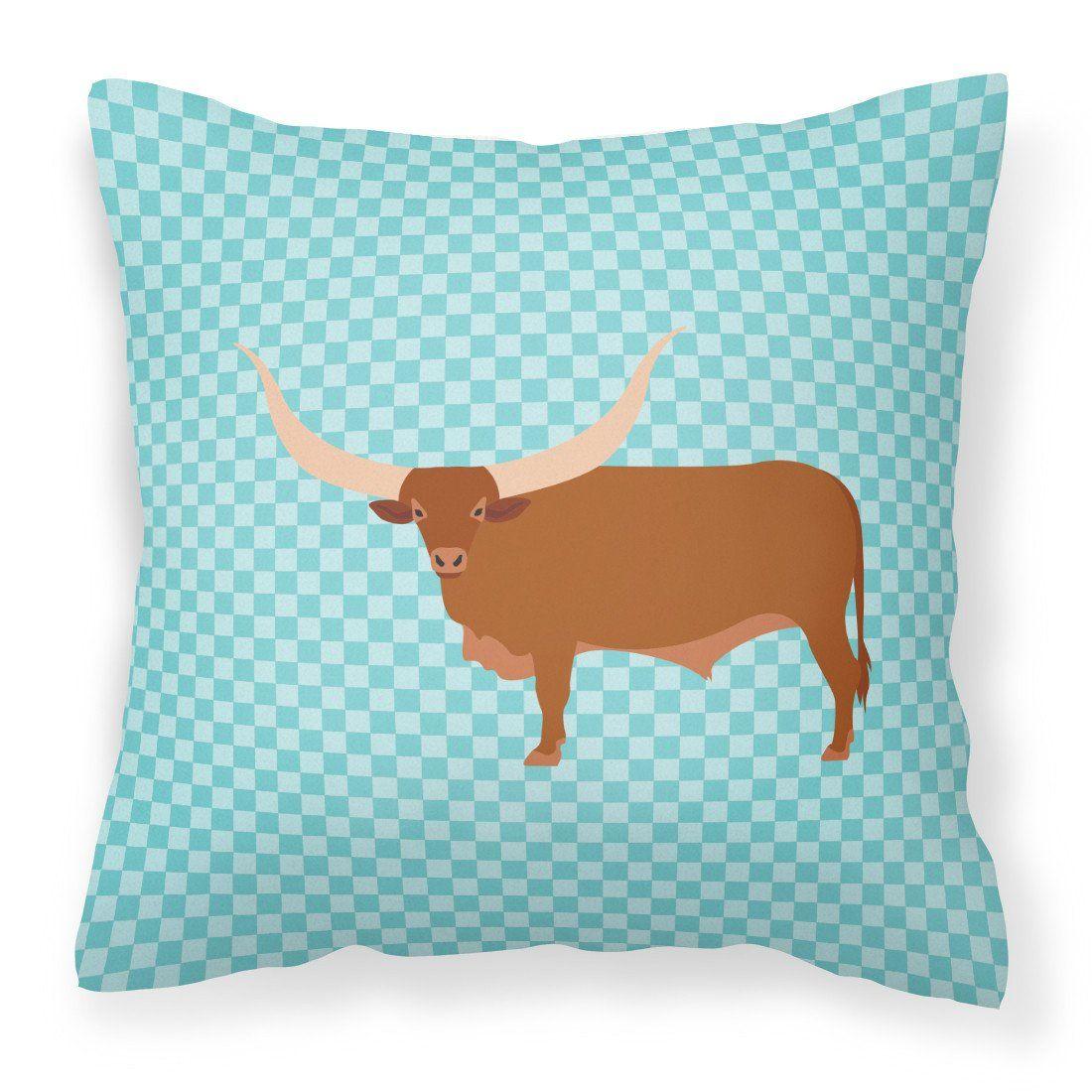 Ankole-Watusu Cow Blue Check Fabric Decorative Pillow BB7997PW1414