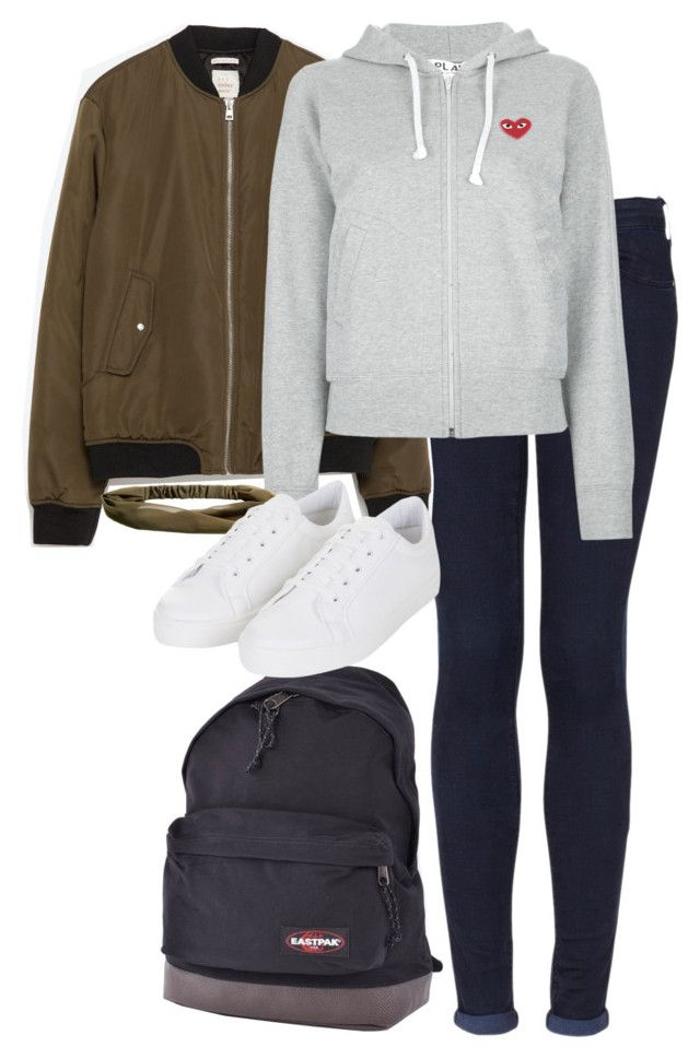 """""""OOTD - school. // 23.05.16"""" by francesca-valentina-gagliardi ❤ liked on Polyvore featuring Topshop, Zara, Play Comme des Garçons, Eastpak and H&M"""