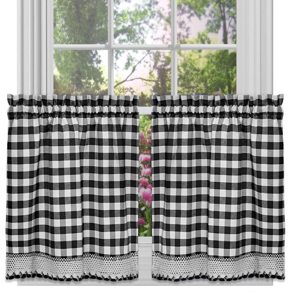 Achim Semi Opaque Buffalo Check Black Poly Cotton Tier Pair Curtain 58 In W X 24 In L Bctr24bw12 Tier Curtains Sweet Home Collection Kitchen Curtains