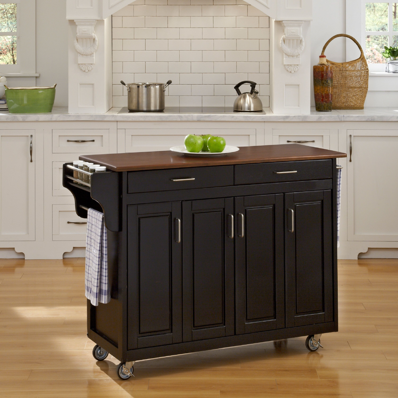 Gracewood Hollow Defoe Black Finish With Cherry Top Solid Wood Kitchen Cart Kitchen Cart Kitchen Island On Wheels Kitchen Island With Granite Top