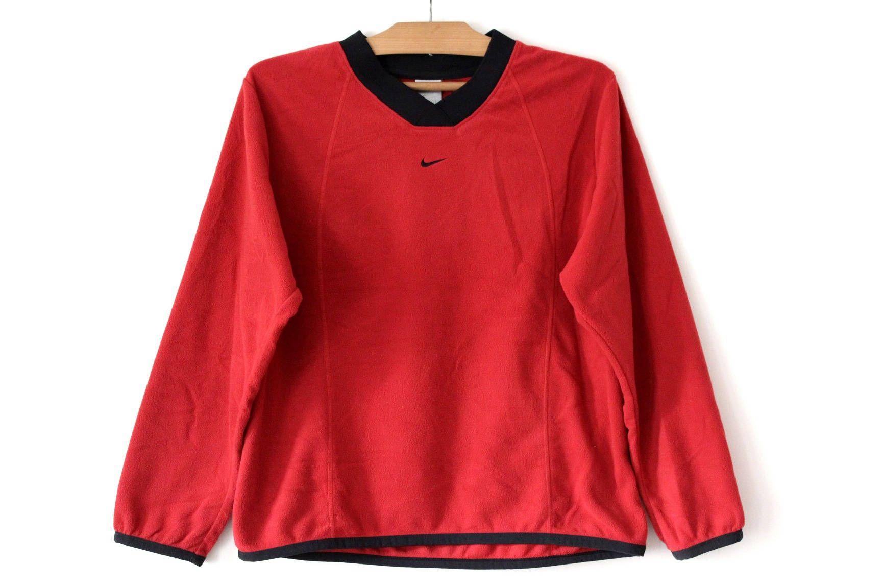 90 S Nike Sweatshirt Vintage Nike Fleece Jumper Red Nike Hip Hop Streetwear Nike Pullover Nike Tennis Nike Running Sweater Adidas Sport Pants Nike Fleece