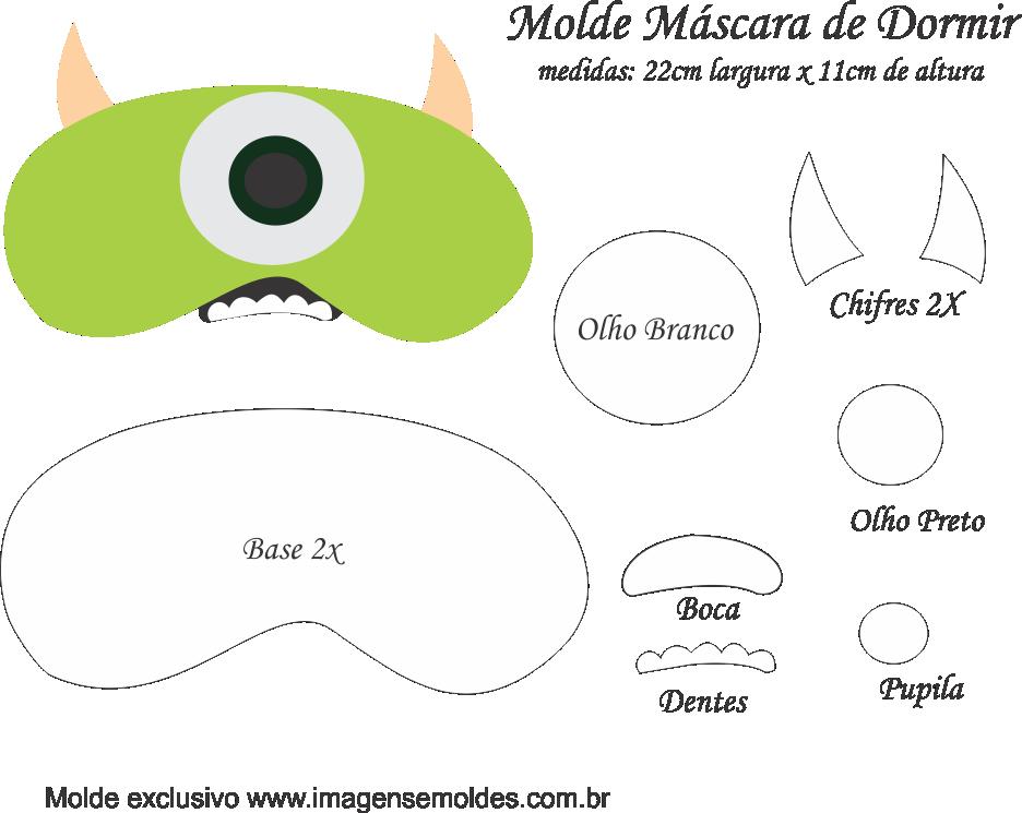 Molde Máscara de Dormir Mike M SA - Molde EVA e Feltro | Minus ...