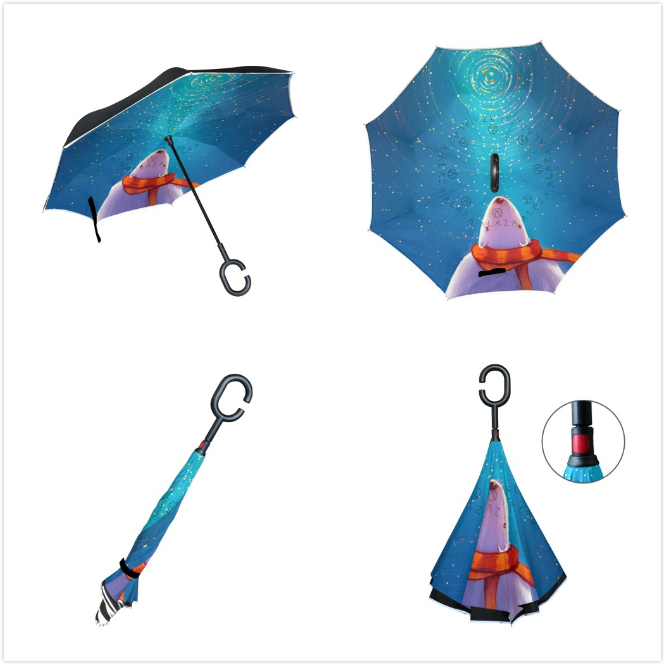 4beb7100d7d7 Double Layer Inverted Umbrellas Polar Bear Looking Up At The Stars ...