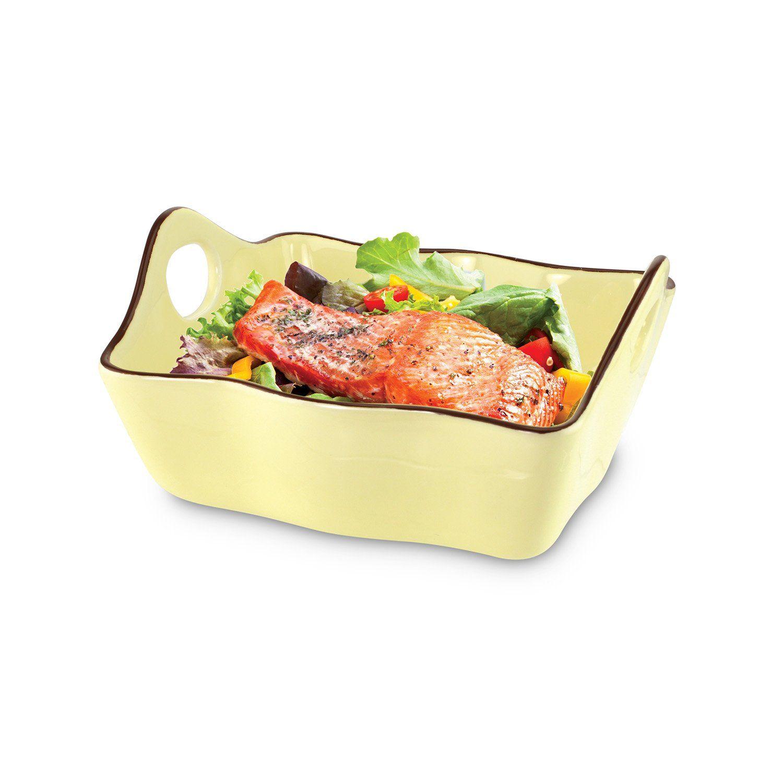 Kovot Set Of 3 Ceramic Casserole Dishesbakeware Brown Orange Yellow