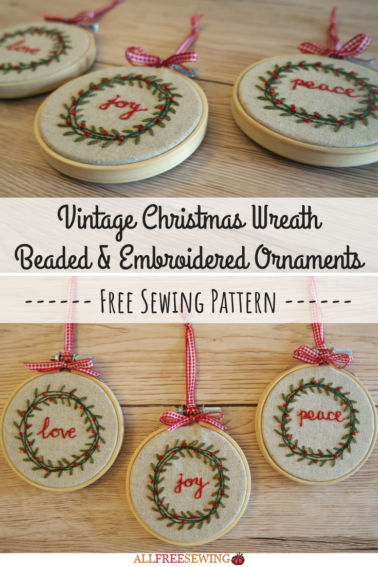 Photo of Vintage Christmas Wreath Beaded & Embroidered Ornaments